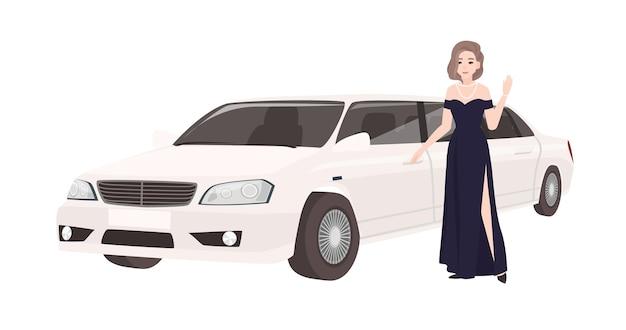 Frau im eleganten abendkleid, das neben luxuslimousine steht. weibliche berühmtheit und ihr luxuriöses auto oder automobil lokalisiert auf weißem hintergrund. bunte vektorillustration im flachen cartoon-stil.