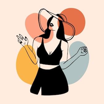 Frau im eleganten strichgrafikstil