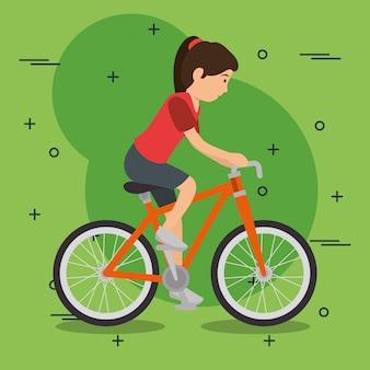 Frau im fahrrad mit sport