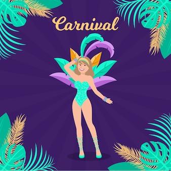 Frau im flachen karneval der festivalkleidung und -federn