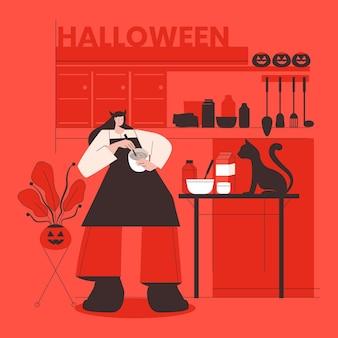 Frau im halloween-kostüm bereitet ein gruseliges abendessen vor