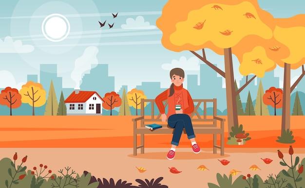 Frau im herbst, sitzend auf einer bank im park mit landschaft