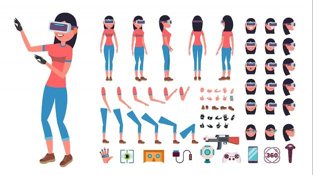 Frau im kopfhörercharakter der virtuellen realität.