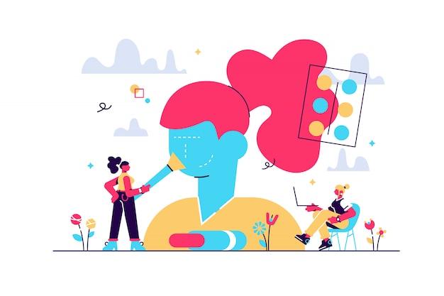 Frau im kosmetiksalon. hautpflegeprodukt des weiblichen charakters, das im schönheitssalon prüft. make-up-kurse, make-up-schule, konzept der kosmetik-meisterklasse. isolierte konzept kreative illustration
