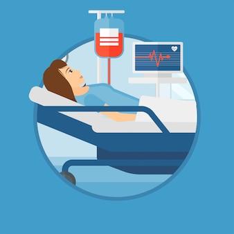 Frau im krankenhausbett liegen.