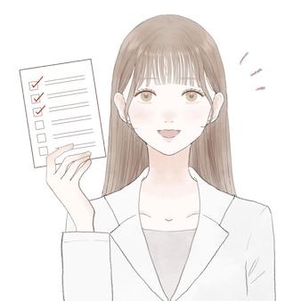 Frau im laborkittel mit checkliste. auf weißem hintergrund.