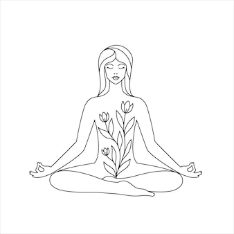 Frau im lotussitz auf weißem hintergrund. yoga- und entspannungskonzept. strichzeichnungen-symbol.