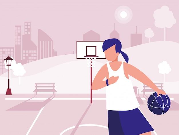 Frau im park in der stadt, die sport treibt