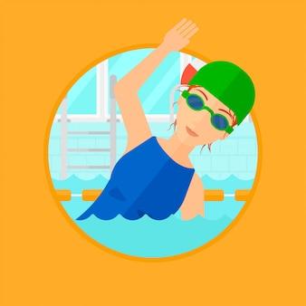 Frau im pool schwimmen.