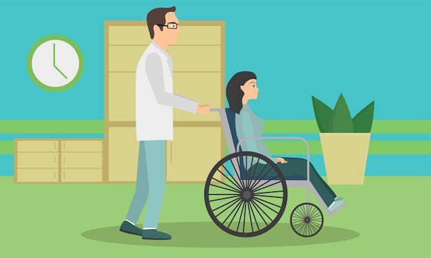 Frau im rollstuhl soll aus dem krankenhaus entlassen werden. der arzt bringt den patienten im rollstuhl ins krankenhaus