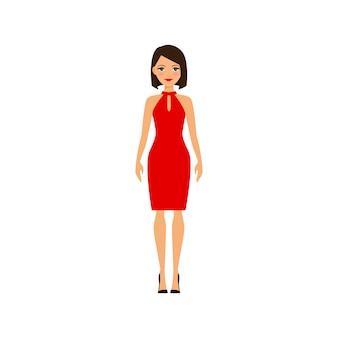 Frau im roten reizvollen kleid