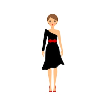 Frau im schwarzen retro- partykleid