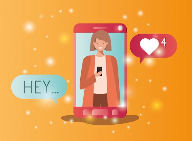 Frau im smartphone mit social media-blasen