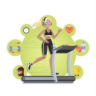 Frau im sportbekleidungstraining auf dem laufband. joggen im fitnessstudio mit speziellen geräten. illustration
