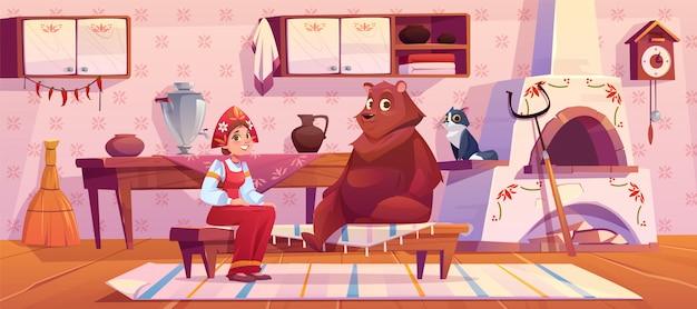 Frau im traditionellen alten russischen kostüm und im bären