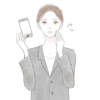 Frau im unruhigen anzug mit smartphone. auf weißem hintergrund.