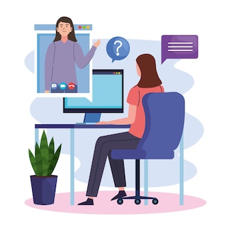 Frau im videoanruf mit computer