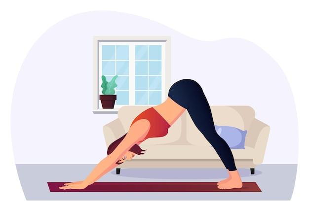 Frau in abwärts gerichteter hundeposition, die yoga für wellness praktiziert