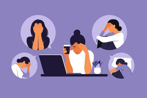Frau in depression mit verwirrten gedanken im kopf. junges trauriges mädchen, das am laptop sitzt.