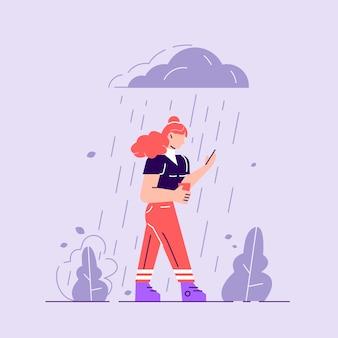 Frau in depression. trauriger charakter, der unter dem regen steht. bedecktes wetter
