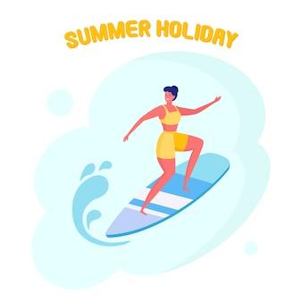 Frau in der badebekleidung, die im meer, ozean surft. glückliches mädchen in strandkleidung mit surfbrett auf weißem hintergrund. lustiger surfer. sommerferien, ferien, extremsport.