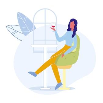 Frau in der bar-alleinkarikatur-vektor-illustration