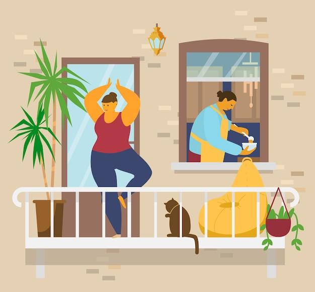 Frau in der baumhaltung, die yoga auf balkon mit katze und pflanzen tut, mann in der schürze armiert suppe in der schüssel im küchenfenster. hauptaktivitäten. bleiben sie zu hause konzept. eben