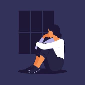 Frau in der depression mit verwirrten gedanken im kopf. junges trauriges mädchen, das im fenster sitzt und ihre knie umarmt. flacher stil