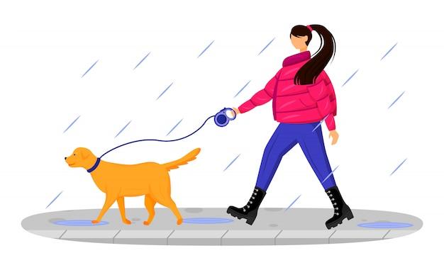 Frau in der fellfarbe gesichtslosen charakter. gehender hund der kaukasischen dame im regen. regnerischen tag. nasses wetter. stilvolle frau in stiefelkarikaturillustration auf weißem hintergrund