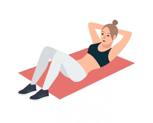 Frau in der fitnesskleidung, die auf rosa matte liegt und bauchmuskelübung durchführt. weibliche zeichentrickfigur, die sit-ups während des aerobic-trainings isoliert macht. illustration.