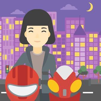Frau in der radfahrersturzhelm-vektorillustration.
