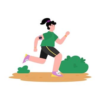 Frau in der sportbekleidung, die in der flachen karikaturillustration des parks joggt