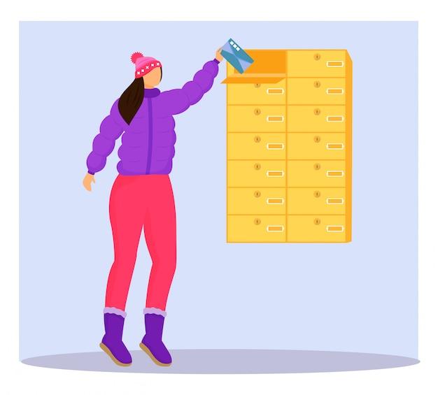 Frau in der winterkleidung erhält briefflachfarbillustration. post aus der mailbox bekommen. lieferservice. nehmen karte von persönlichem postfach isolierte zeichentrickfigur auf blauem hintergrund