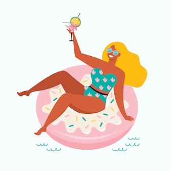 Frau in einem badeanzug mit einem fruchtcocktail schwimmt im pool auf einem aufblasbaren donutschwimmer. hand gezeichnete weibliche figur auf strand sommerfest. pin up mädchen schwimmen auf float kreis im meer. eben