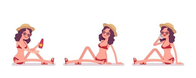 Frau in einem gesetzten sonnenbad nehmenden sitzen des bikinis