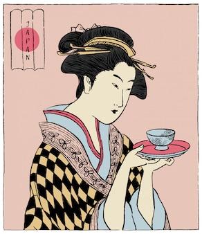Frau in einem kimono, der eine teetasse hält. japanischer traditioneller stil.