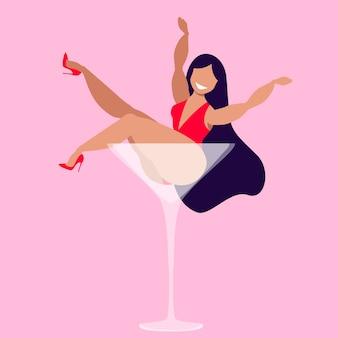 Frau in einem martini-glas isolierte illustration. schöne brünette im roten body und in den schuhen mit hohen absätzen, die in einem glas martini sitzen. glücklicher weiblicher charakter.