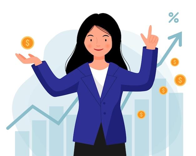 Frau in einer jacke investiert erfolgreich ihr geld ein mädchen steht mit münzen in der hand