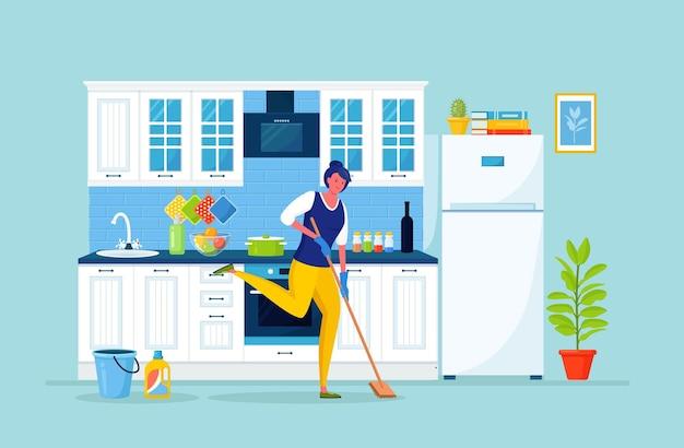 Frau in handschuhen, die boden in der küche waschen. mädchen mit mopp, waschmittel, um hausarbeit zu reinigen. hausfrau erledigt die hausarbeit