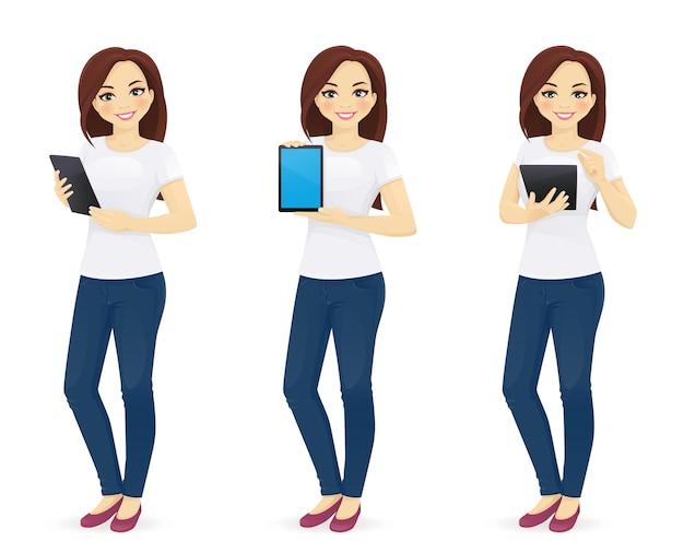 Frau in jeans mit tablet isolierte vektorillustration