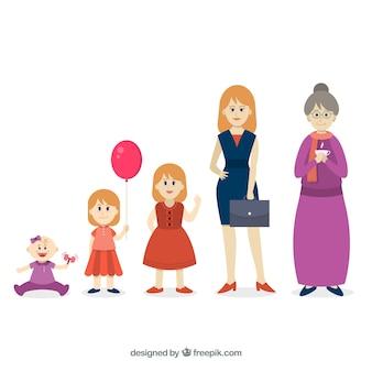Frau in verschiedenen altersstufen