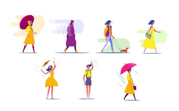 Frau in verschiedenen jahreszeiten festgelegt