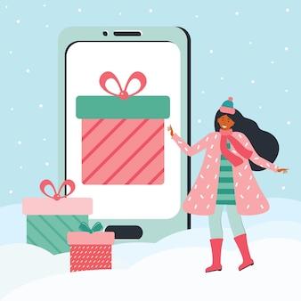 Frau in winterkleidung wählt ein geschenk auf dem riesigen smartphonebildschirm. urlaubsrabatt, promotion, geschenk, verkauf in der mobilen app. frohe weihnachten und neues jahr. online-bewerbungen. vektorillustration