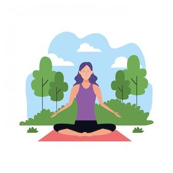 Frau in yogahaltungen