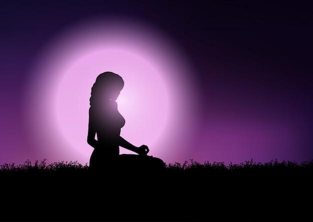Frau in yogaposition im sonnenunterganghimmel