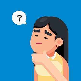 Frau ist verwirrend und mit fragezeichenzeichen denkend