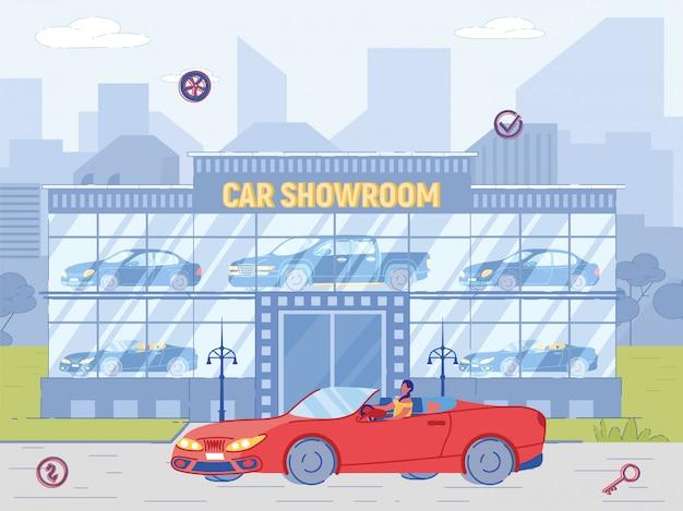 Frau käufer fahren luxus cabriolet in der nähe von showroom