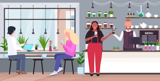Frau kauft kaffee und marihuana-kekse moderne cannabis-café-innenraum drogenkonsum-konzept flache horizontale vektorillustration in voller länge