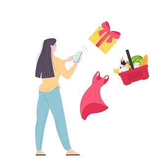 Frau kauft lebensmittel, geschenke und kleidung auf der mobilen app mit dem telefon. lieferung online-bestellung per telefon. flache vektorillustration.