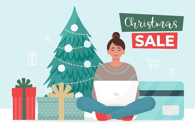 Frau kauft waren im online-shop von zu hause aus silvester weihnachtsverkaufsbanner vektorillustration